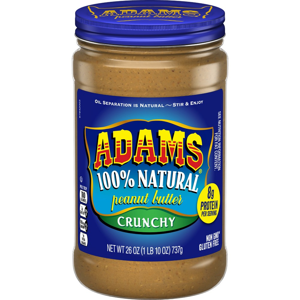 Adams Peanut Butter 100% Natural Crunchy Peanut Butter - 26oz