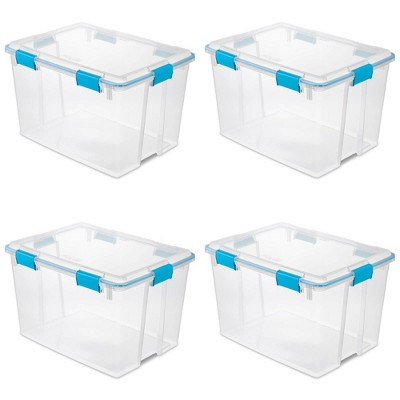 Sterilite 80 Quart Plastic Home Storage Gasket Box Container, Clear (4 Pack)