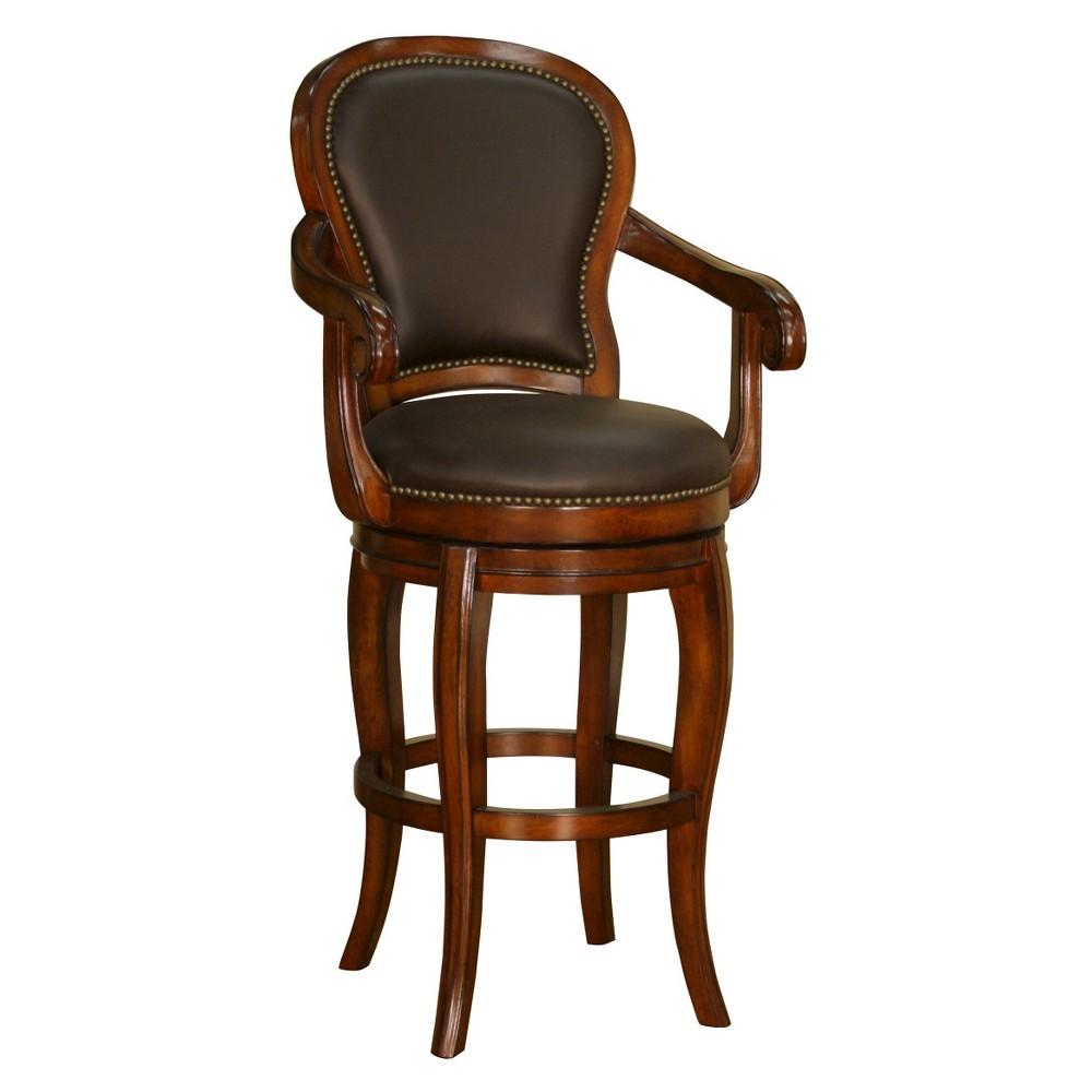 30 Santos Swivel Genuine Leather Barstool Hardwood/Chocolate (Brown) - American Heritage Billiards