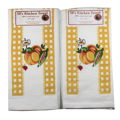 """Tabletop 24.0"""" Pumpkin Harvest Time Towel S/2 100% Cotton Kitchen Fall Corn Red And White Kitchen Company  -  Kitchen Towel"""
