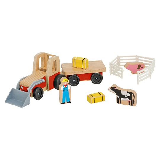 Melissa & Doug Farm Tractor Wooden Vehicle Play Set (5pc) image number null
