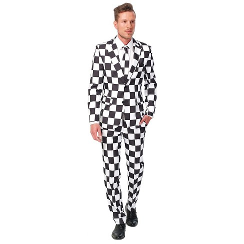 Men's Checked Suit Costume Black and White - image 1 of 2