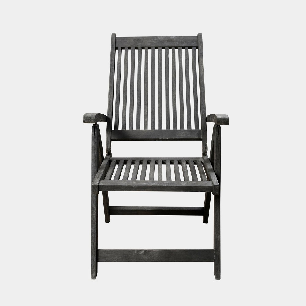 Renaissance Outdoor Patio Hand-Scraped Wood 5-Position Reclining Chair, Mid Gray