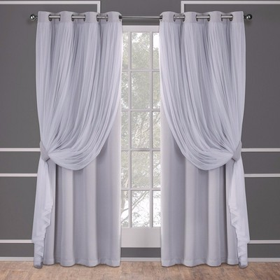 "63""x52"" Caterina Layered Solid Blackout With Sheer Top Curtain Panels Gray - Exclusive Home"