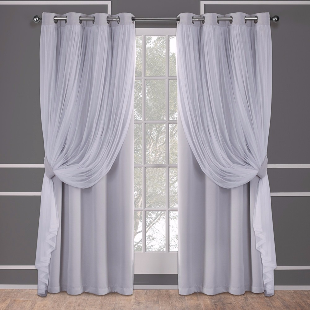 Caterina Layered Solid Blackout with sheer top curtain panels Cloud Gray 52x96 - Exclusive Home