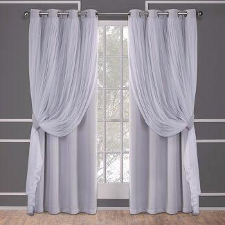 Caterina Layered Solid Blackout With Sheer Top Curtain Panels Cloud Gray 52X63 - Exclusive Home
