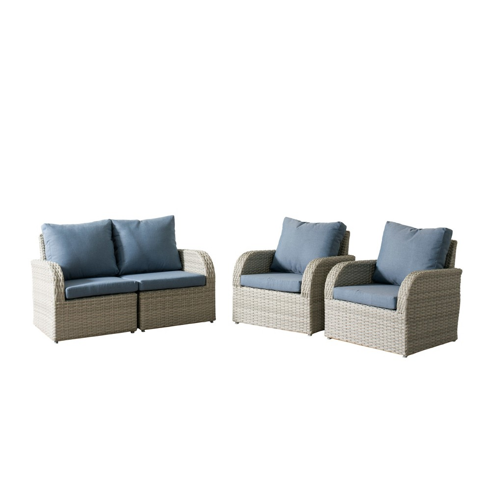 Brisbane 4pc Resin Wicker Loveseat and Chair Patio Set with Weather Resistant Fabric - Blue - CorLiving