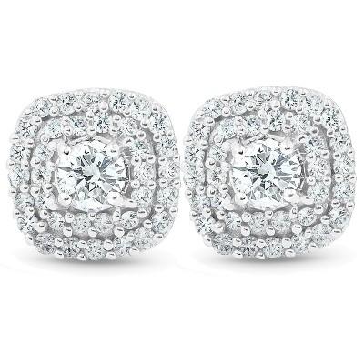 """Pompeii3 1/2 Ct TDW Genuine Diamond Cushion Halo Studs 10k White Gold 1/3"""""""