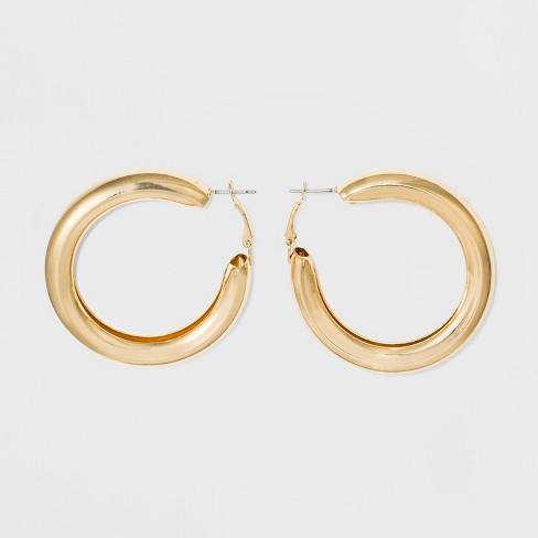 Open Hoop Smooth Surface Earrings - Wild Fable™ Gold - image 1 of 3