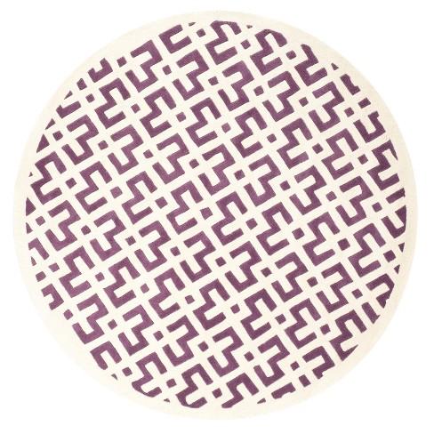 Purple/Ivory Geometric Tufted Round Area Rug 7' - Safavieh - image 1 of 3