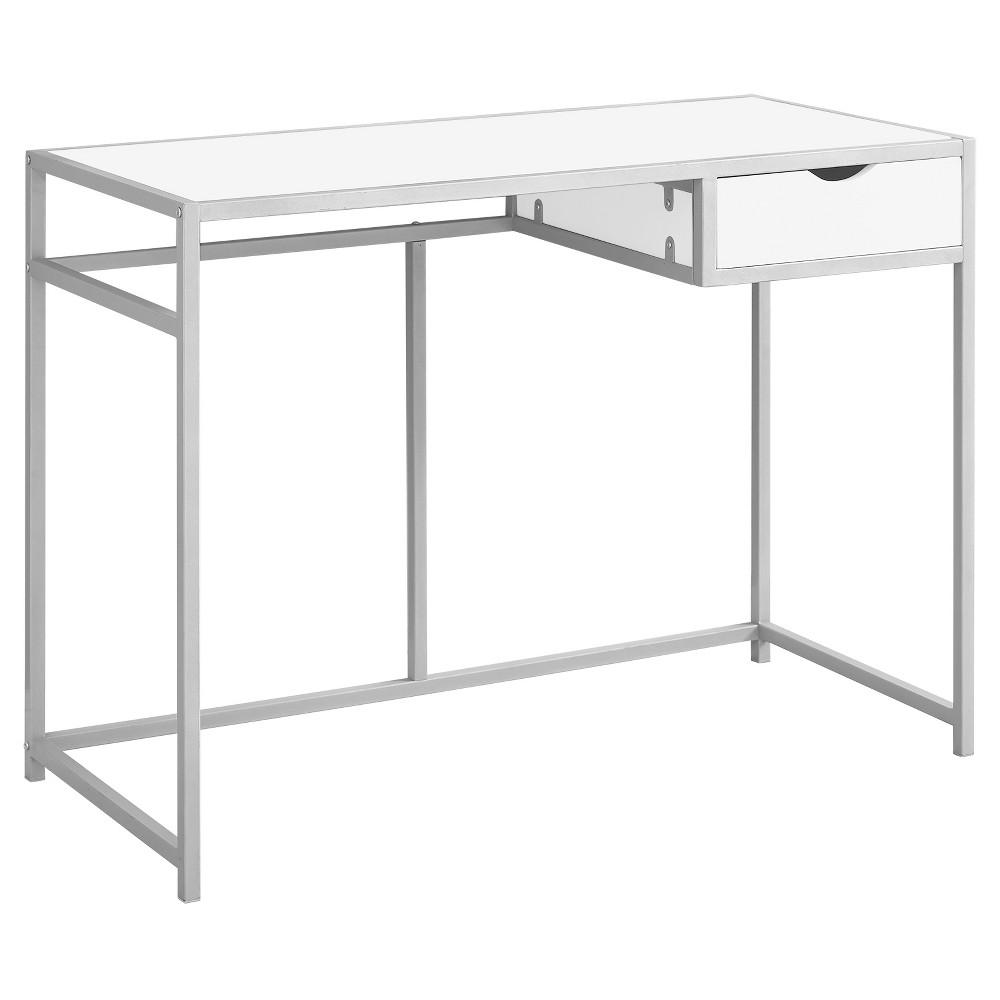 Computer Desk - Silver Metal, White - EveryRoom