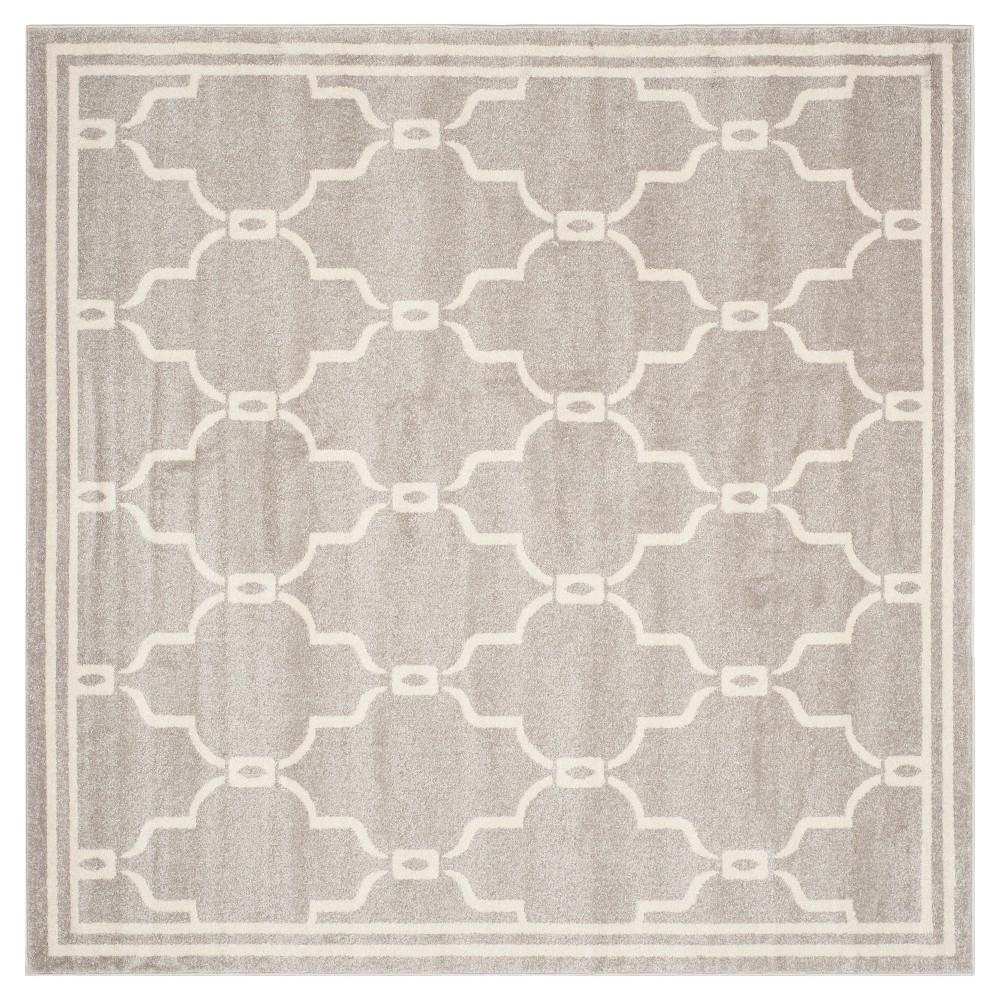 Prato Square 9'X9' Indoor/Outdoor Rug - Light Gray/Ivory - Safavieh