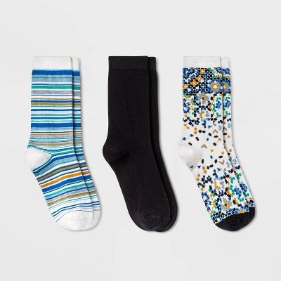 Women's Gradient Tile 3pk Crew Socks - A New Day™ Cream/Black 4-10