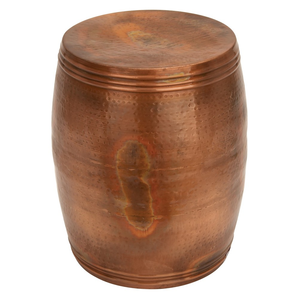 Image of Metal Drum Copper Colored Accent Table copper - Olivia & May