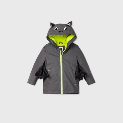 Toddler Boys' Bat Dress Up To Play Rain Jacket - Cat & Jack™ Black/Gray 12M
