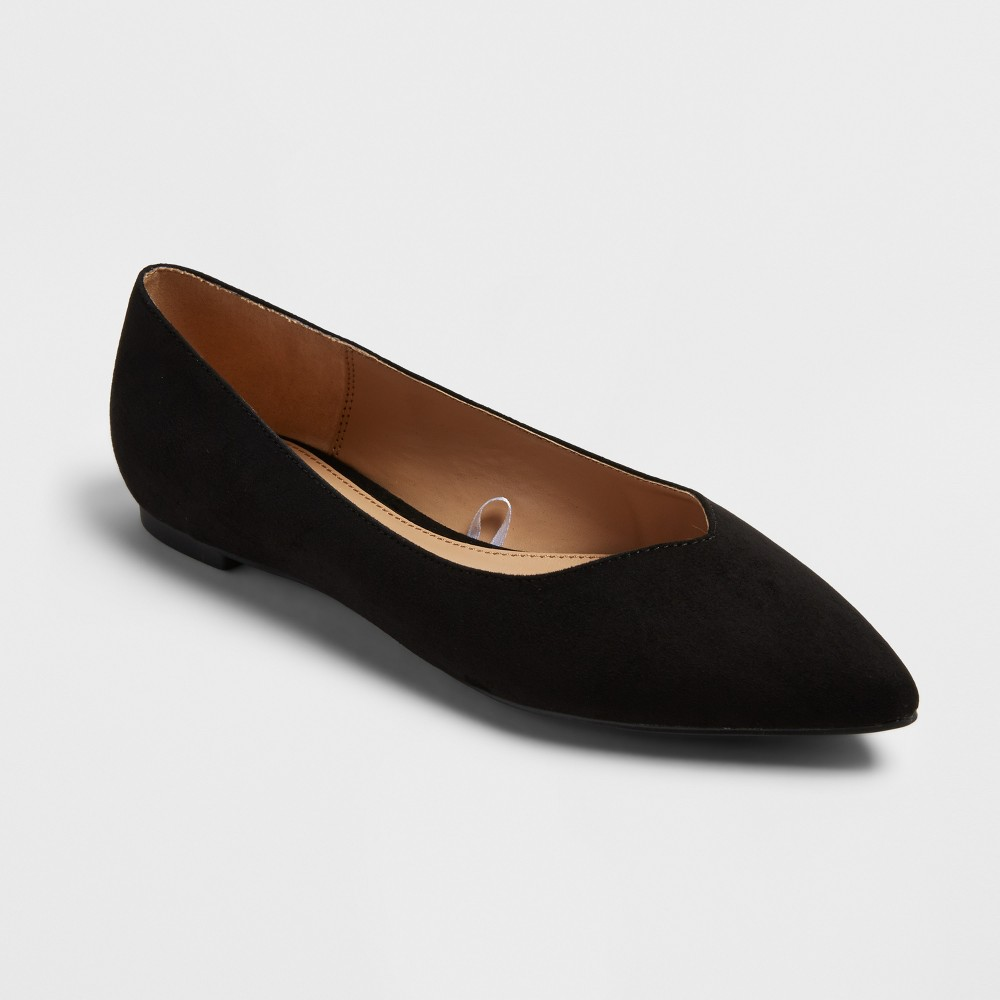 Women's Hillary Pointed Toe Ballet Flats - A New Day Black 5.5