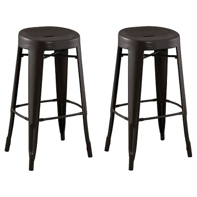 """Set of 2 29"""" Quinn Backless Contoured Seat Barstools Steel/Antique Brown - ACEssentials"""