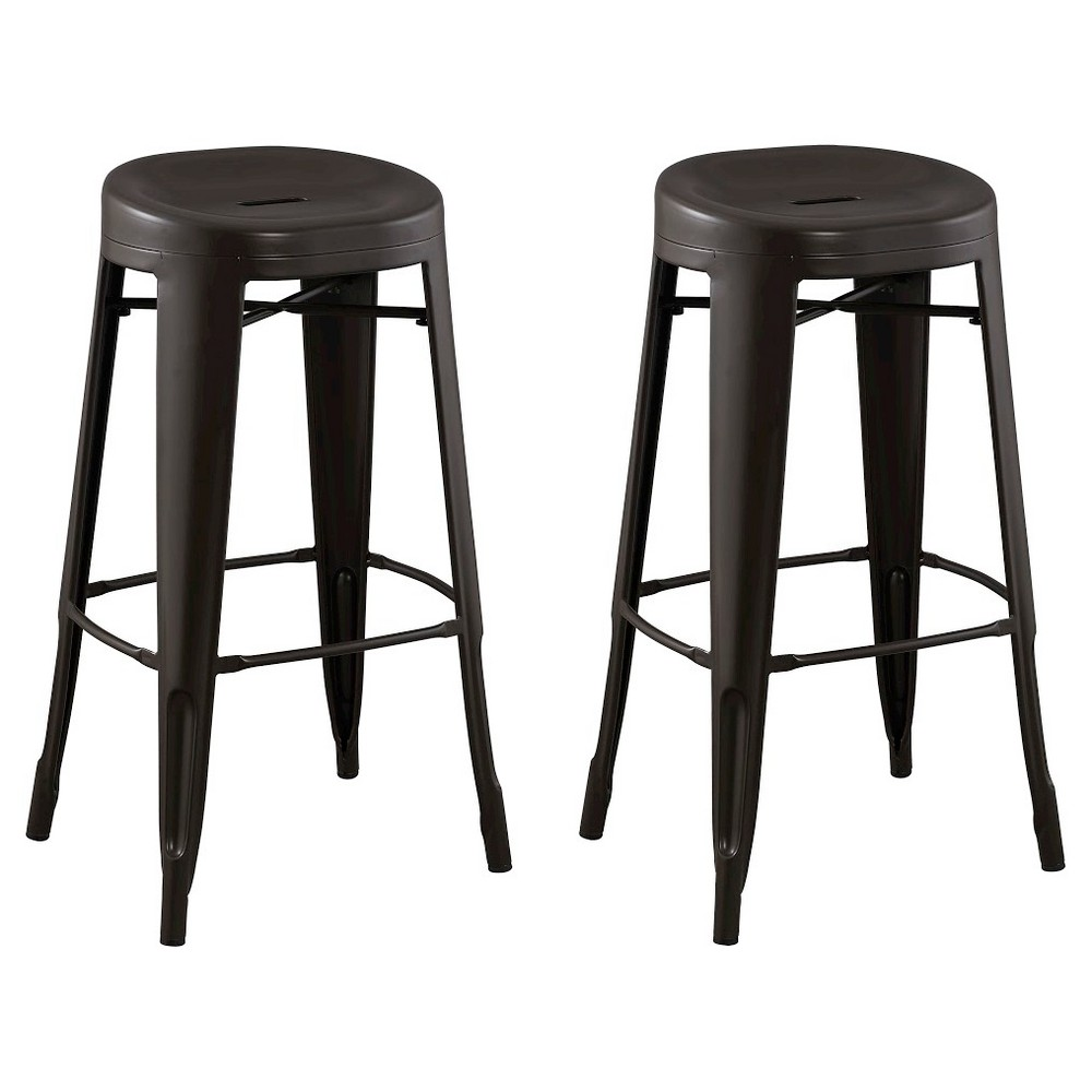 "Image of ""Quinn Backless Contoured Seat 29"""" Barstool Steel/Antique Brown (Set of 2) - Reservation Seating"""