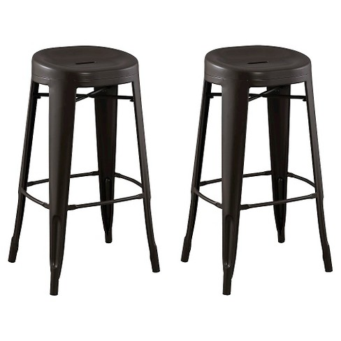 """Set of 2 29"""" Quinn Backless Contoured Seat Barstools Steel/Antique Brown - ACEssentials - image 1 of 4"""