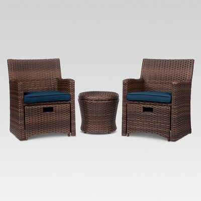 Halsted 5pc Wicker Patio Seating Set - Navy - Threshold™
