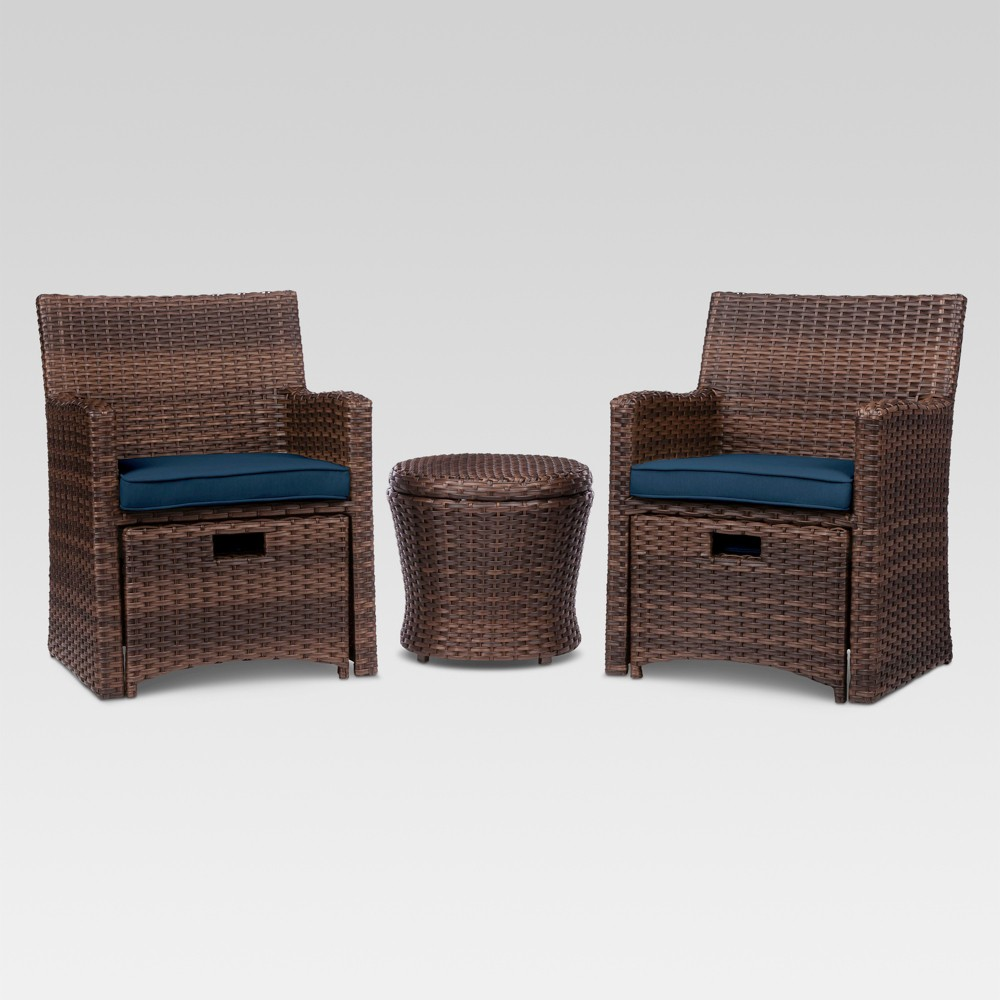 Halsted 5pc Wicker Patio Seating Set - Navy (Blue) - Threshold