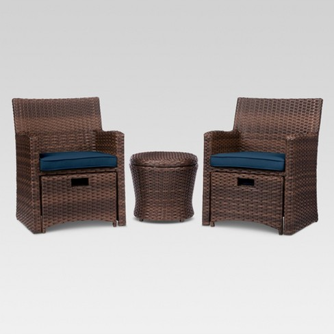Halsted 5pc Wicker Small Space Patio Furniture Set - Threshold™ - image 1 of 7
