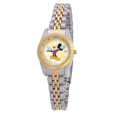 Women's Disney Mickey Mouse Two-Tone Link Watch with Gold Dial