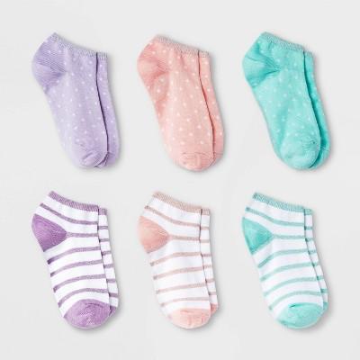 Girls' 6pk Stripes and Dots Super Soft No Show Socks - Cat & Jack™