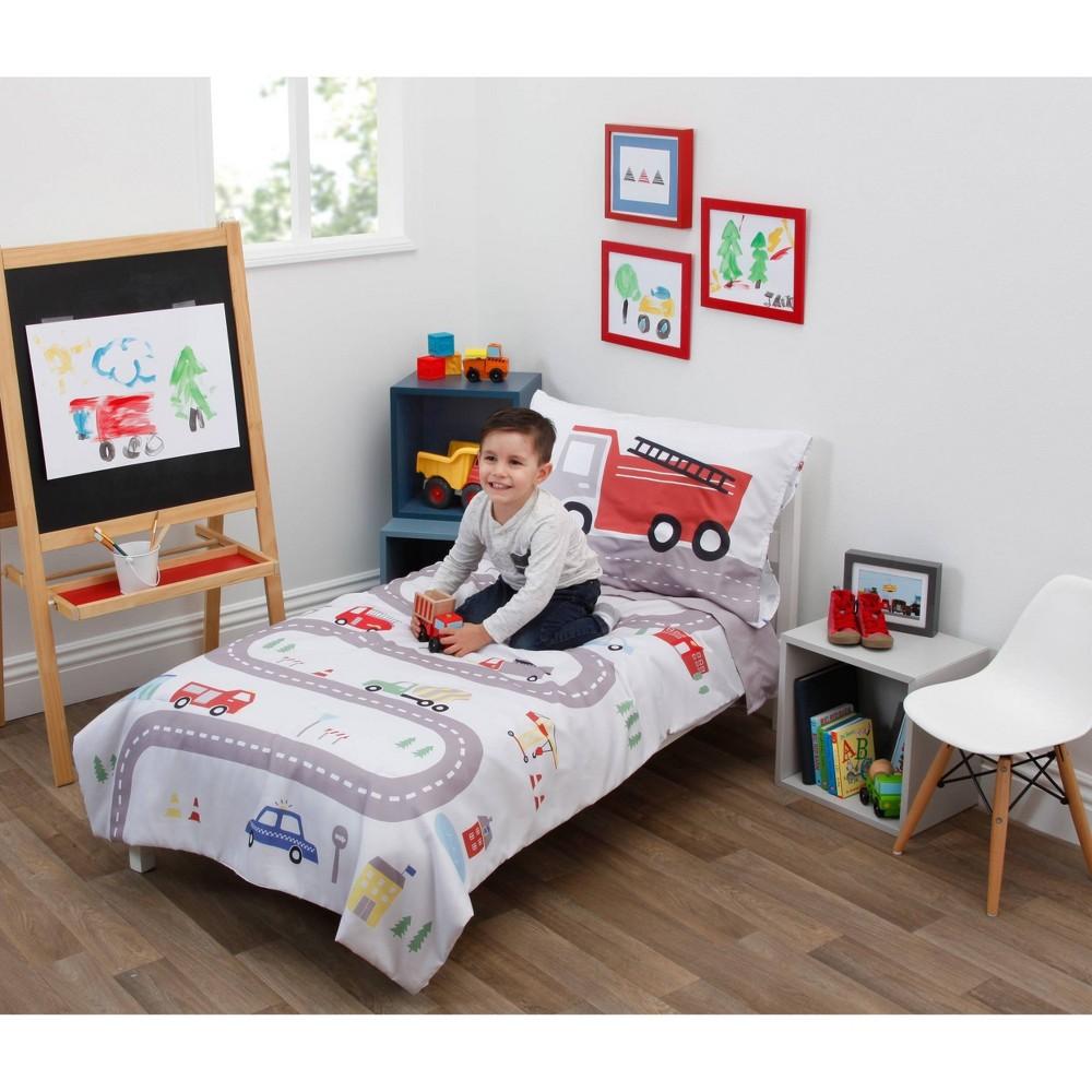 Image of NoJo 4pc Everything Kids Road Trip Toddler Bedding Set