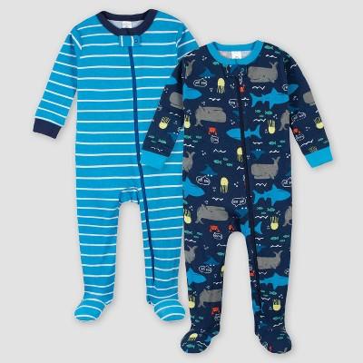 Gerber Boys' 2pk Whale and Shark Footed Pajama - Blue 9M