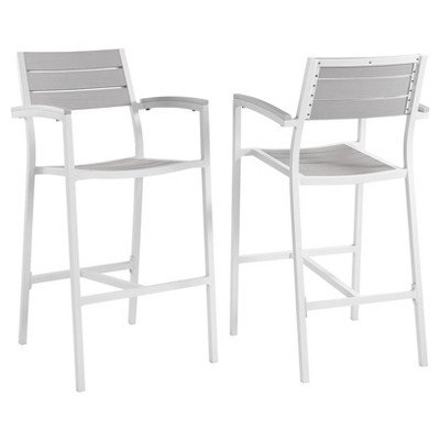 Maine Bar Stool Outdoor Patio Set of 2 in White Light Gray - Modway