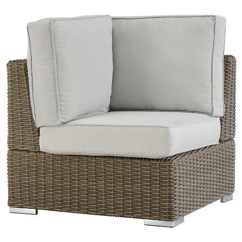 Riviera Pointe Wicker Patio Corner Chair with Cushions Mocha/Beige - Inspire Q - image 1 of 2