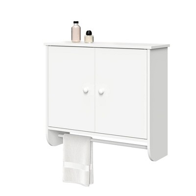 2 Door Wall Mounted Cabinet with Towel Bar White