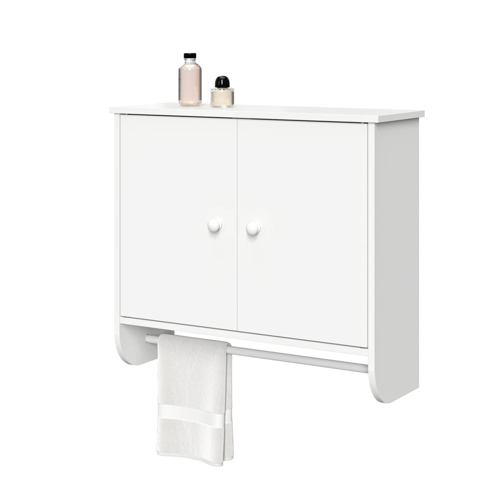 Image of 2 Door Wall Mounted Cabinet with Towel Bar White