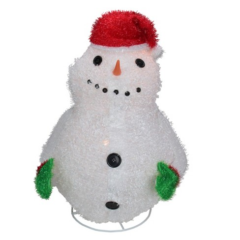 """Sterling 24"""" Red and White Pre-Lit Outdoor Snowman Wearing Santa Hat Christmas Decoration"""