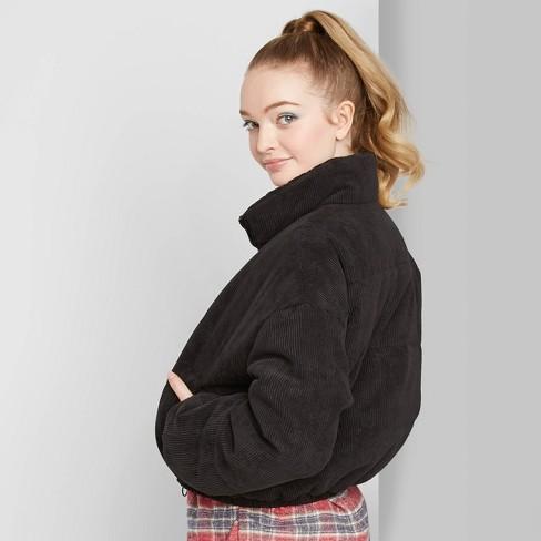 Women's Long Sleeve Corduroy Zip-Up Puffer Jacket - Wild Fable™ Black - image 1 of 3