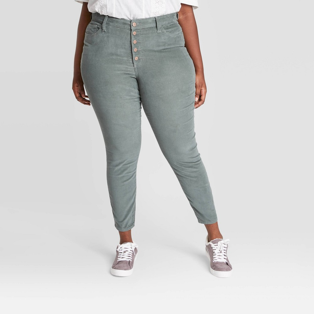 Women 39 S Plus Size High Rise Cropped Skinny Pants Universal Thread 8482 Green 24w