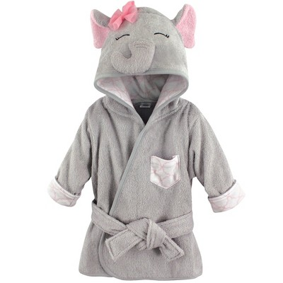 Hudson Baby Infant Girl Cotton Animal Face Bathrobe, Pretty Elephant, 0-9 Months