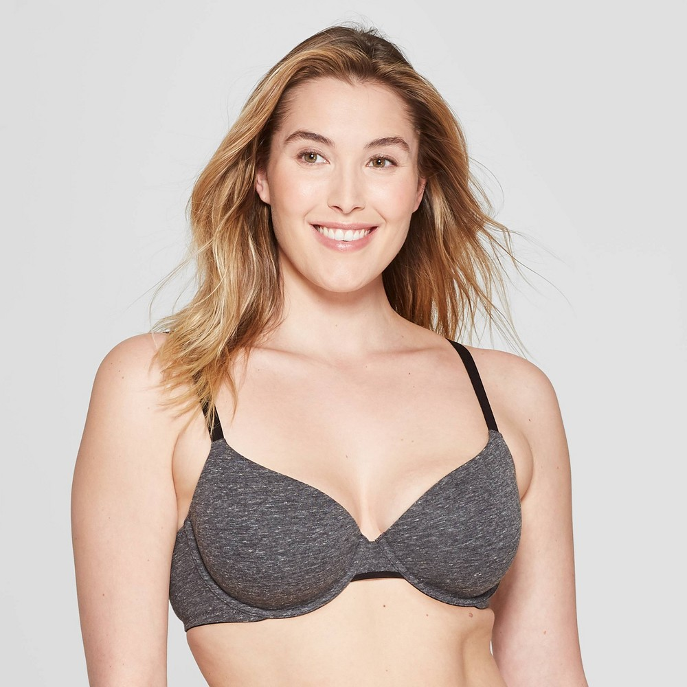 Women's Everyday Lightly Lined Cotton Demi T-Shirt Bra - Auden Dark Charcoal Heather 32C