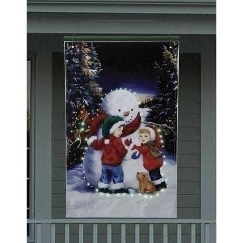 Roman 4' Lighted Snowman with Children Christmas Banner - image 1 of 1
