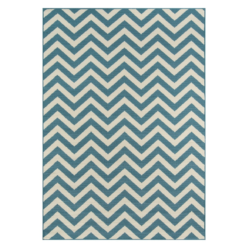 "Image of ""1'8""""X3'7"""" Chevron Loomed Accent Rug Blue - Momeni"""