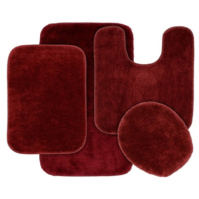 4pc Traditional Nylon Bath Rug Set Red - Garland Rug