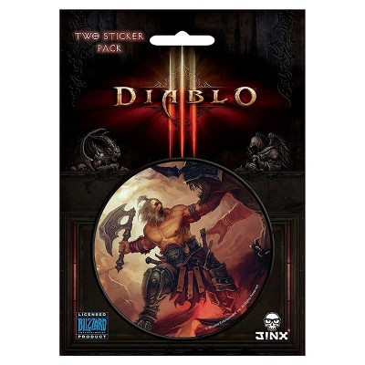 "JINX Inc. Diablo III 3"" Round Sticker 2-Pack: Barbarian Class"