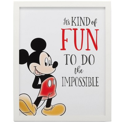 Disney Mickey Mouse Fun Impossible Framed Wood Wall Canvas