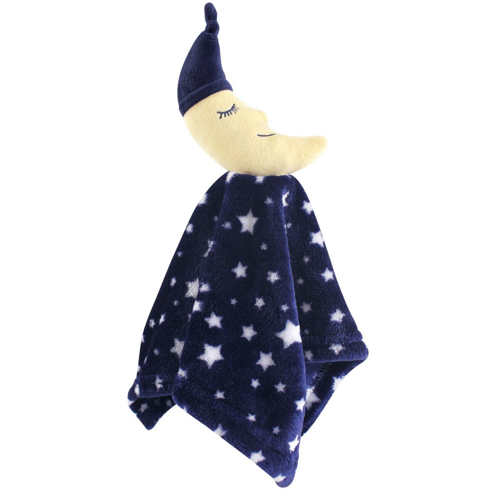 Hudson Baby Unisex Baby Animal Face Security Blanket Navy Moon One Size