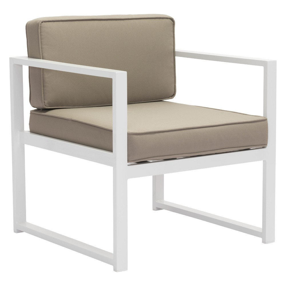 2pk Modern Aluminum Arm Chair White/Taupe - ZM Home