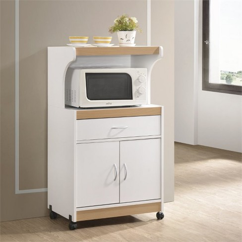 Microwave Kitchen Cart in White - Hodedah