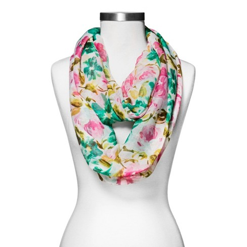 Women's Woven Floral Print Infinity Scarf White - Merona™ - image 1 of 1