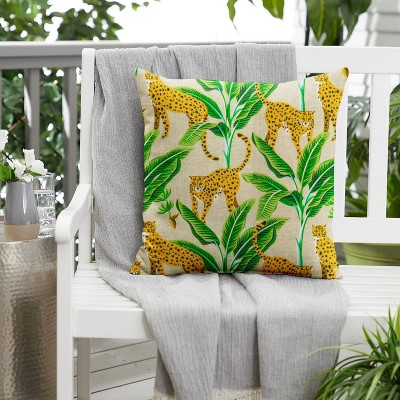 Outdoor Throw Pillow Yellow/Green
