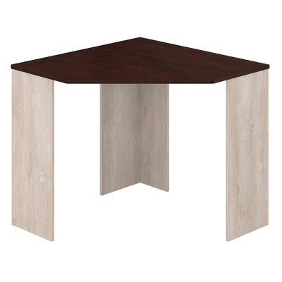 Townhill Corner Desk Washed Gray and Madison Cherry - Bush Furniture